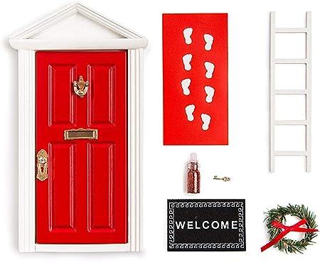 Amazon.com: La pequeña puerta de madera roja de hadas de ...