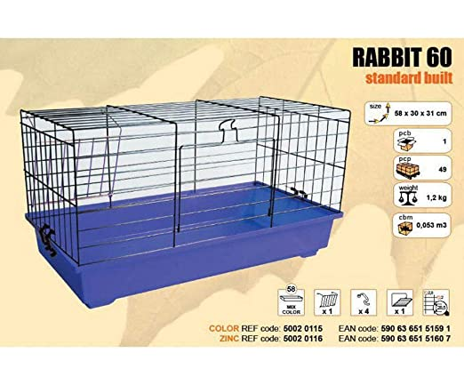 Jaula Conejo 60 Chrome 580x300x310mm, Agro Zoológico, Jaulas para ...