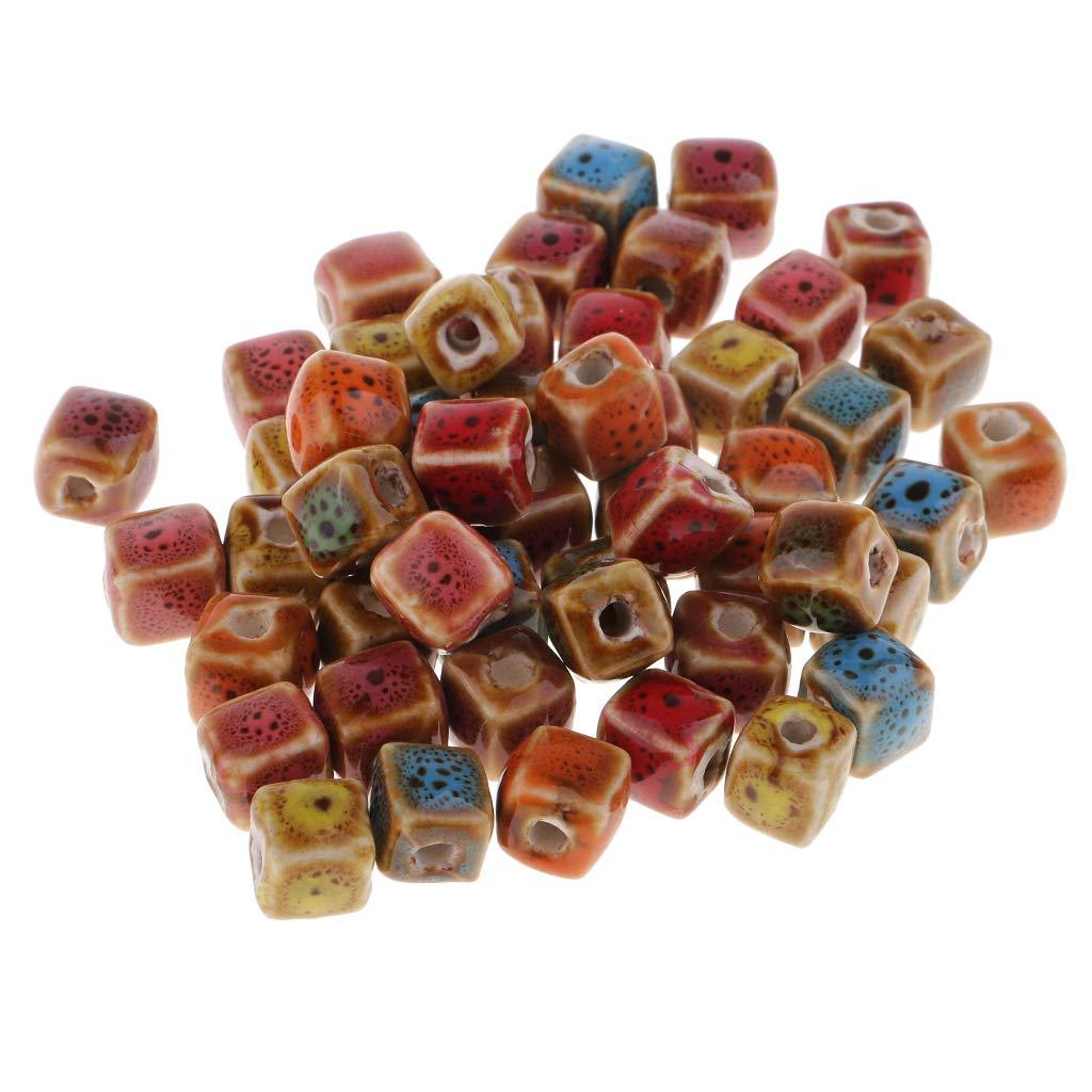 8mm B Baosity 50pcs Perles dEspace Perles L/âche C/éramique Emaill/ée de Fleurs pour Fabrication de Bijoux