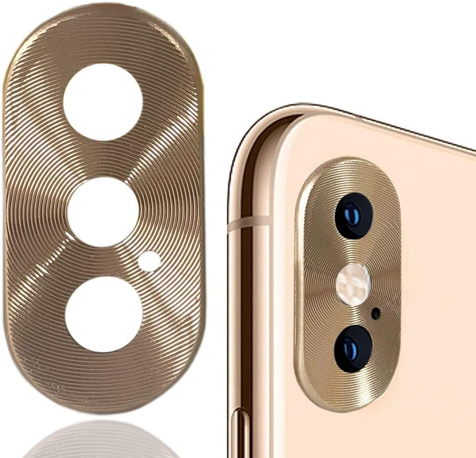 "WENSUNNIE Metal Aluminum Rear Camera Lens Protector Case Cover 3 Pack Compatible with iPhone Xs 5.8""/Xs Max 6.5"" Back Camera Protector Case (Golden)"