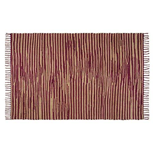 VHC Brands 18123 Natural Tan Primitive Americana Flooring Providence Chindi/Rag Rug, 4' x 6' ()