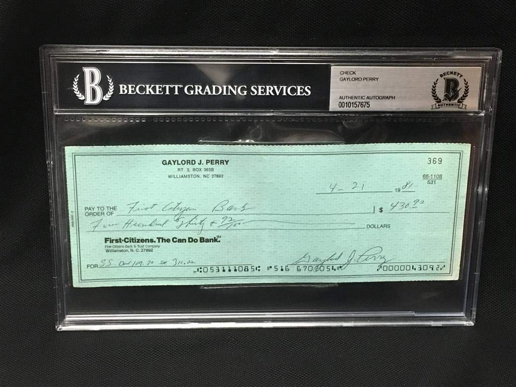 Gaylord Perry Autographed Signed Check 7675 Beckett Authentic Slabbed
