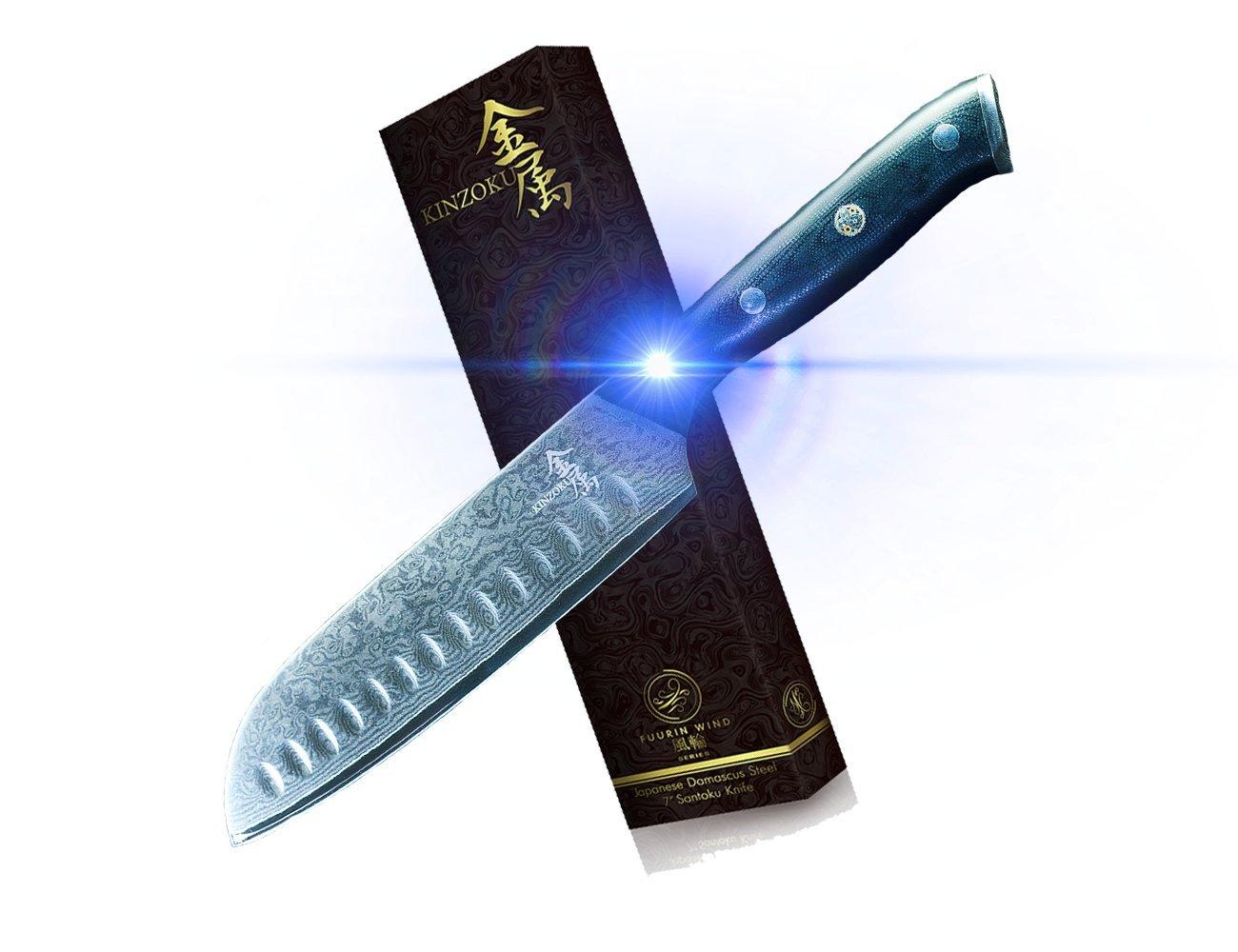 Kinzoku Japanese Damascus Steel Fuurin Wind Series 7'' Santoku Knife 67 Layers VG10 Steel Core