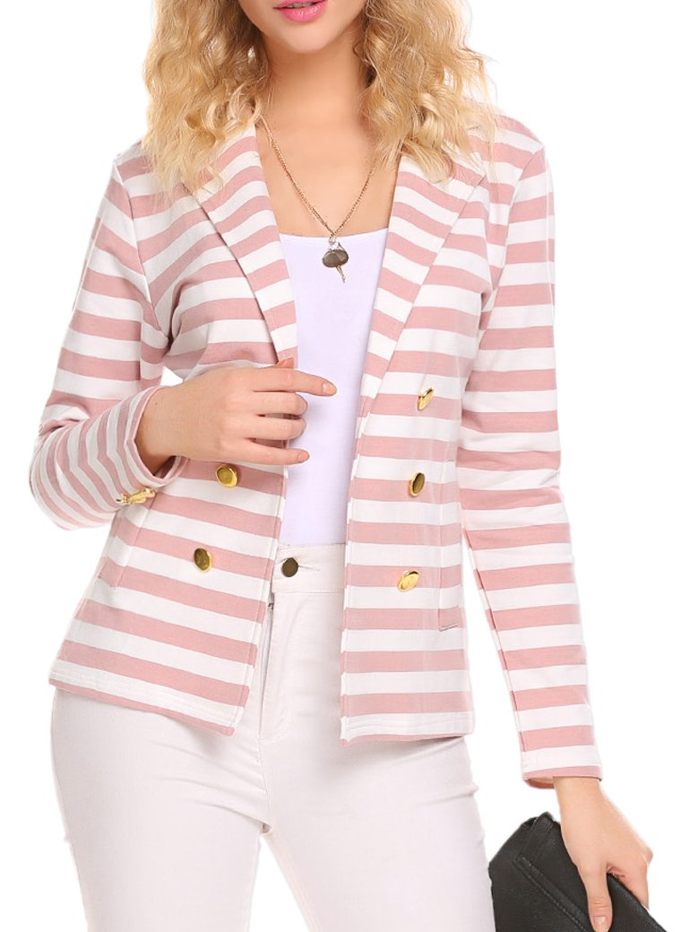 Naggoo Women's Striped Slim Business Work Blazer Suit Jacket Coat Outwear (M, Pink and White)