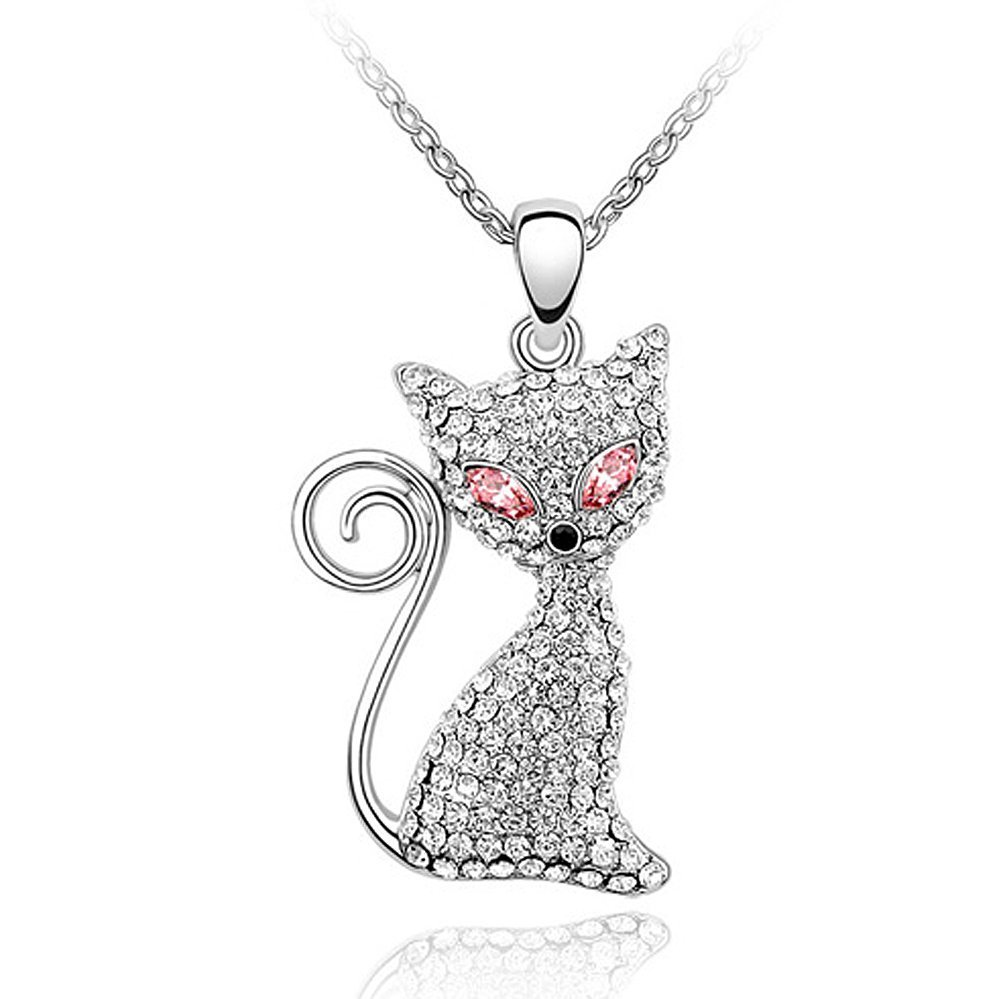 Acefeel Black Friday Gift Made with Swarovski Element Crystal Cat Charm Pendant Necklace Fashion Jewelry N100