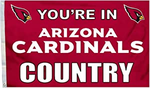 Fremont Die NFL Arizona Cardinals 3' x 5' Flag with Grommets, 3 x 5-Foot, In Country