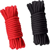 Soft Cotton Rope, 2Pcs 10 M/33 Feet 8 MM Twisted Multipurpose Rope, Craft Rope (Black+ Red)