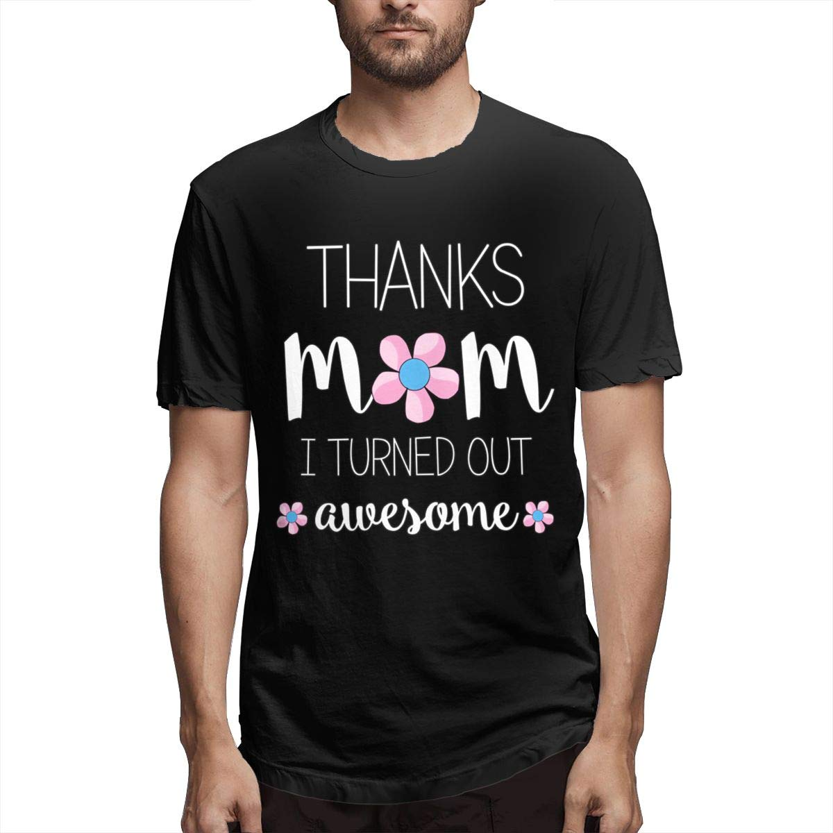 Marsherun Mens Thanks Mom Gift Ideas Classic Short Sleeve Shirts