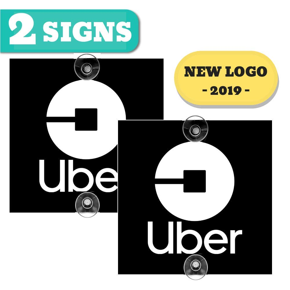 Bellexpress uber sign 2 pack 5x5 inches removable window decal with super strong suction cups signs for uber lyft and rideshare drivers not a