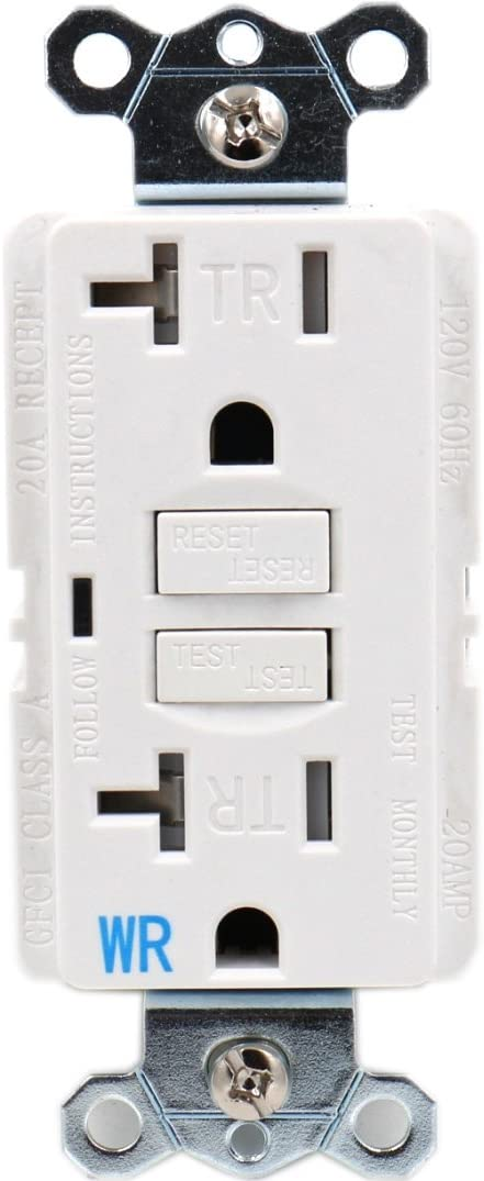 Baomain GFCI Outlet Receptacle 15Amp 120VAC 60Hz Weather-Resistant and Tamper-Resistant Ground Fault Circuit Interruptor LED indicator UL/&CUL listed with Wall Plate White