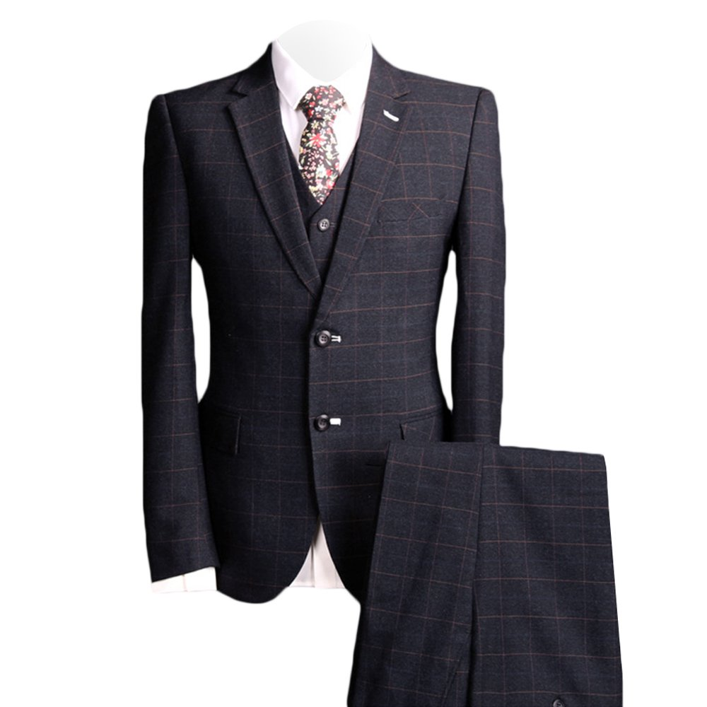 MAGE MALE Men's Plaid 3 Piece Suit Modern Slim Fit Two-Button Single Breasted Wedding Formal Party Blazer Vest Trouser Set