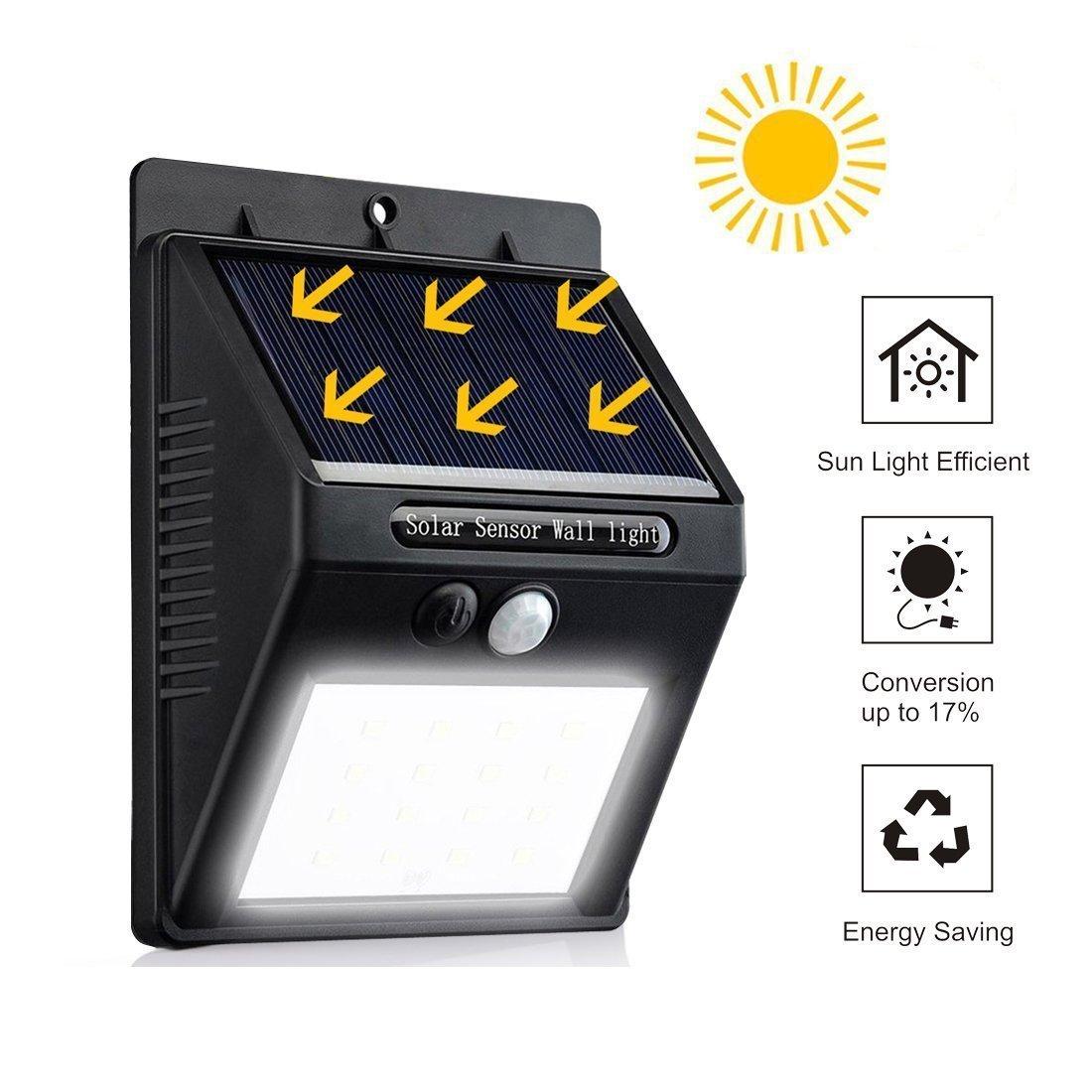28 LED Sensor de movimiento solar de luz con 3 modos inteligentes, panel solar separable, luz de seguridad con energía solar, luz de pared impermeable al ...