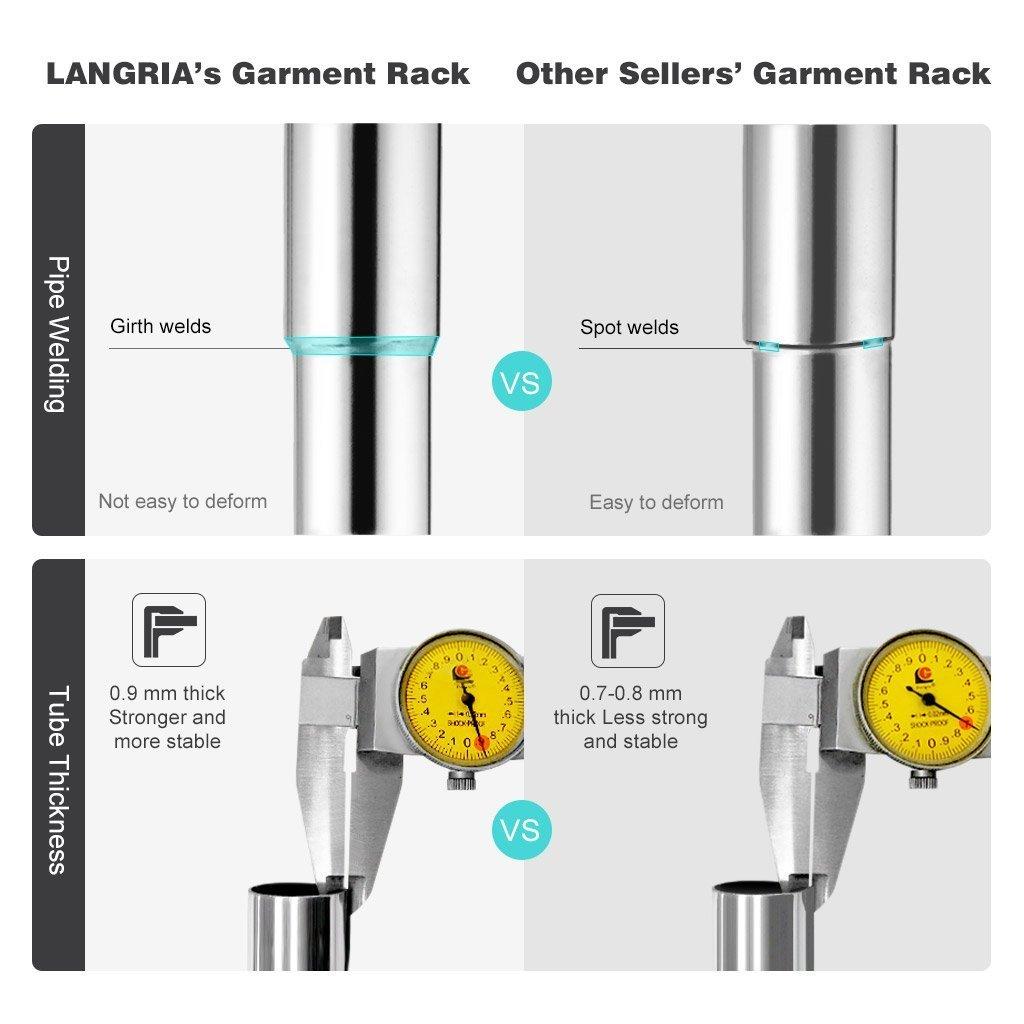 Amazon.com: LANGRIA Heavy Duty Garment Rack Commercial Grade Adjustable  Clothing Rack Supreme Rolling Rack Steel Adjustable Clothes Rack: Kitchen &  Dining