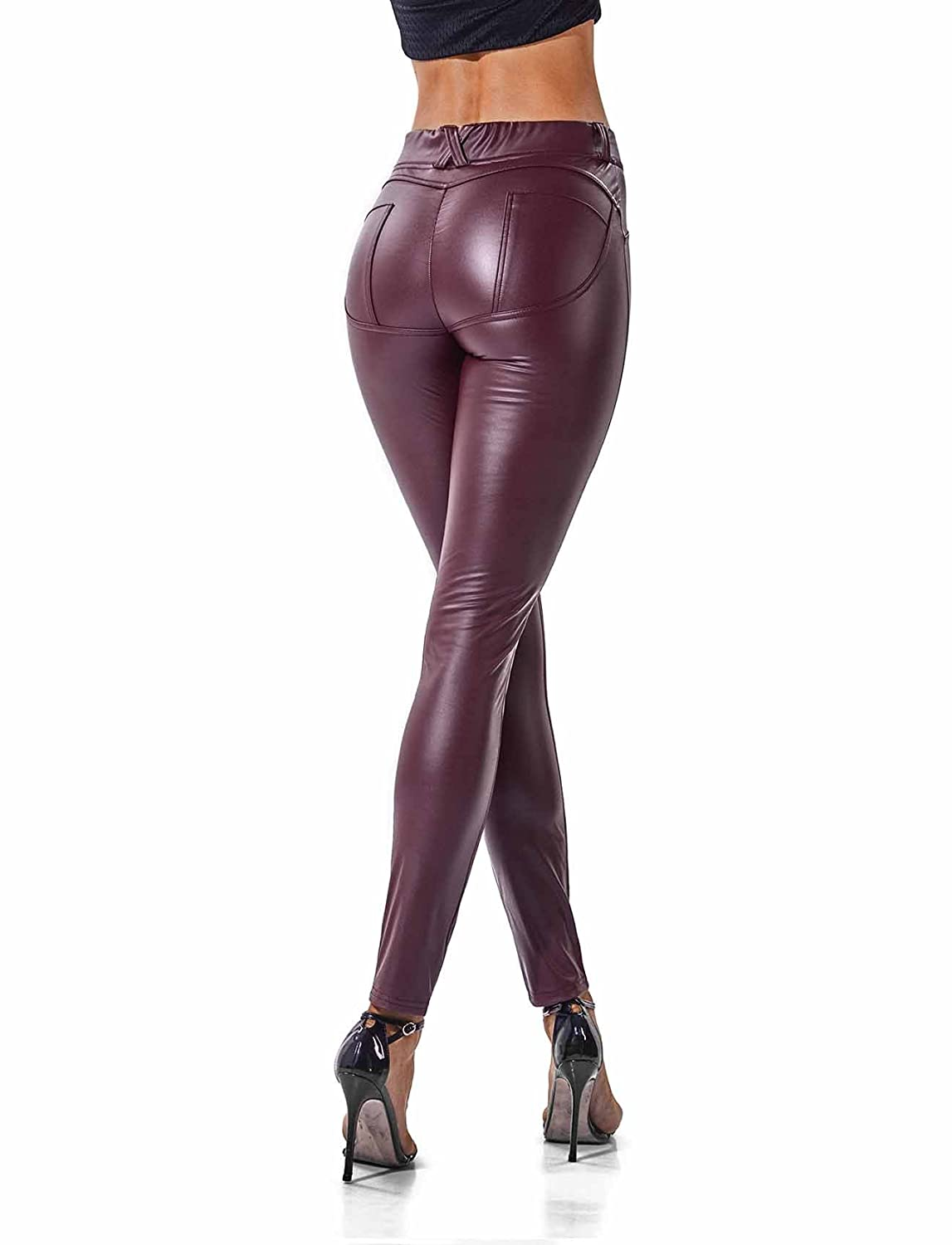 Wine SEASUM Women's Faux Leather Leggings Pants PU Elastic Shaping Hip Push Up Black Sexy Stretchy High Waisted Tights