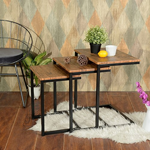 Lillyarn 3pc Stacking Nesting Coffee Table Set of 3 End Side Tables Set Living room Sofa Snack Table Brown Medium Nesting Table