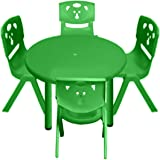 Sunbaby Round Table with 4 Chair, Green