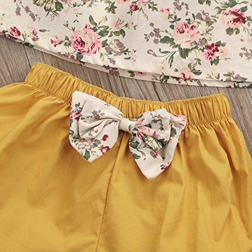 GSHOOTS Baby Girls' 2PCS Clothes Little Flower Ruffle Collar Top + Bowknot Shorts Outfit Set (100 / 12-24 Months, Ginger Garden)