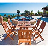 Malibu V189SET7 Eco-Friendly 7 Piece Wood Outdoor Dining Set with Foldable Chairs For Sale