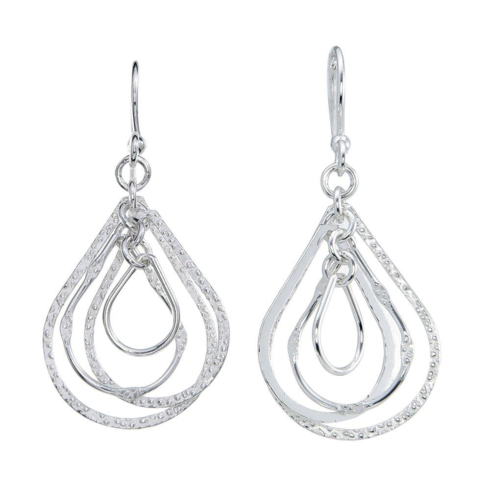 Oh Scarlett Jewelry Sterling Silver Quad Orbiting TearDrop Fluid DangleZ with Textured Finish
