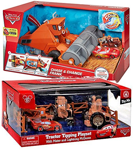 Disney Parks Exclusive Cars Land Tractor Tipping Playset with Mater and Lighting McQueen plus Disney/Pixar Cars Chase and Change Frank, Bundle Pack (Cars Frank)
