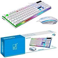 لوحة مفاتيح زد جي بي موديل جي 21 يتم توصيلها بيو اس بي، لوحة سلكية للالعاب، مع ماوس ليد متعددة الألوان، ذات ملمس…