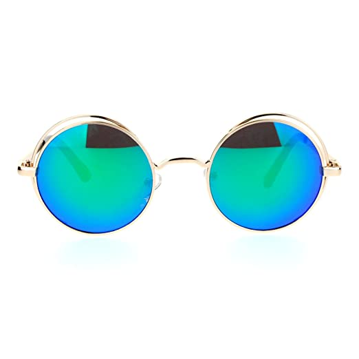 55a86c34738 SA106 Mirrored Mirror Round Circle Len Double Rim Sunglasses Gold Green