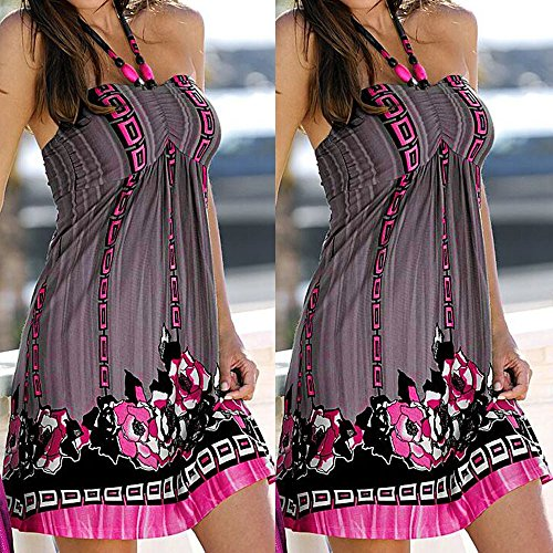 LILICAT Vestido de noche de las mujeres de la tarde Boho Vestido corto impreso sin mangas floral de las flores Gris