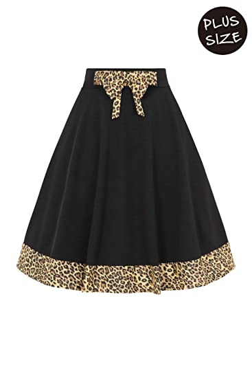 ae2fa835017 Banned Plus Size Rock N Roll Leopard Swing Skirt Black at Amazon Women s  Clothing store