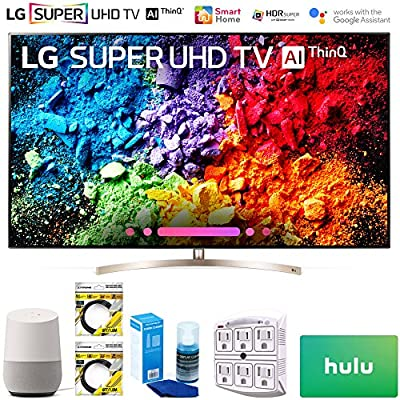 """LG 65SK9500PUA 65"""" Super UHD 4K HDR AI Smart TV w/Nano Cell 2018 Model (65SK9500PUA) + Google Home, 2x 6ft HDMI Cable, Screen Cleaner for LED TVs, 6-Outlet Surge Adapter & 100 Hulu PLUS Gift Card"""