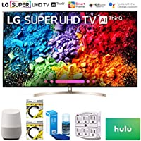 LG 65SK9500PUA 65 Super UHD 4K HDR AI Smart TV w/Nano Cell 2018 Model (65SK9500PUA) + Google Home, 2X 6ft HDMI Cable, Screen Cleaner for LED TVs, 6-Outlet Surge Adapter & $100 Hulu Plus Gift Card