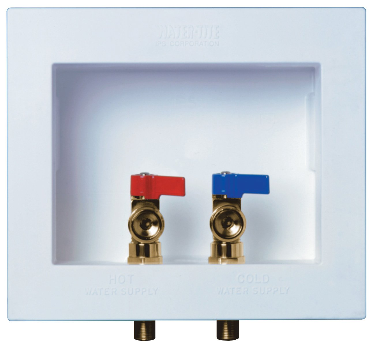 Water-Tite Du-All Dual Drain Washing Machine Outlet Box with Brass Qtr-turn Valves, Installed, 1/2'' CPVC Conx