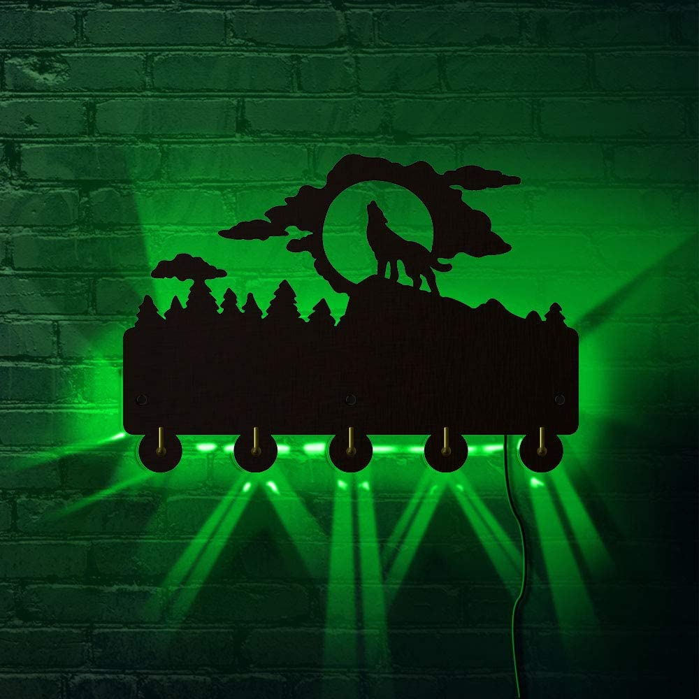 The Geeky Days Howling Wolf Silhouette Household Decor Wall Art Wall Hooks with LED Backlight Wild Animal Clothes Coat Hanger Keys Holder Hooks Bathroom Kitchen Robe Hook