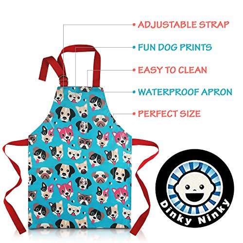 Child Apron For Cooking and Painting - Unique Cute Dog Print in Wipe Clean PVC Coated Cotton for Toddlers Age 4-7 (medium, blue) by Dinky Ninky (Image #5)