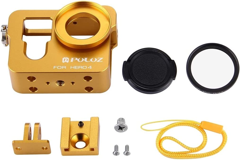 Color : Gold Housing Shell CNC Aluminum Alloy Protective Cage with 37mm UV Lens Filter /& Lens Cap for GoPro HERO4 Durable