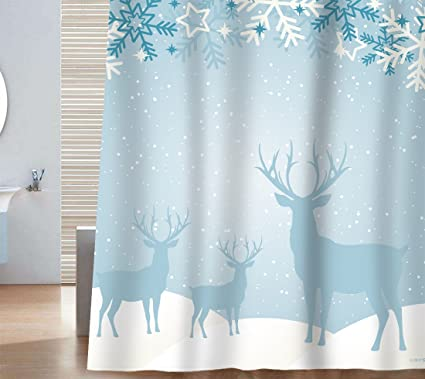 Sunlit Custom Home Decor Christmas Decoration Background Fabric Shower Curtain Blue Reindeer And Snow Festive Bathroom
