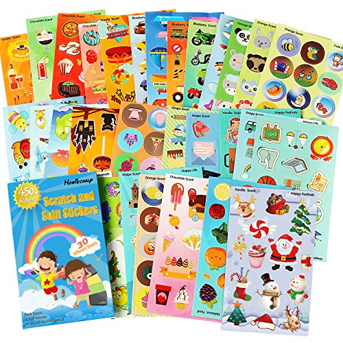 Scratch Sniff Sticker Sheet - HORIECHALY Scratch and sniff Stickers, 30 Sheets no Repeat Pattern 6 Themes, Animals, Cars, Fruits 6 Fragrance Smelly Markers & Reward Sticker Fun!