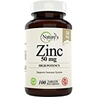 Zinc 50mg [High Potency] Supplement - Immune Support System from Natural Zinc (Oxide...