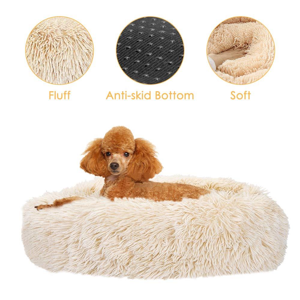 Donut Dog Bed Round Cuddler Nest Soft Plush Dog Cat Cushion with Cozy Sponge Non-Slip Bottom for Small Medium Pets Snooze Sleeping Autumn Indoor AutoWT Pet Calming Bed M - 23 inch, Khaki Machine Washable