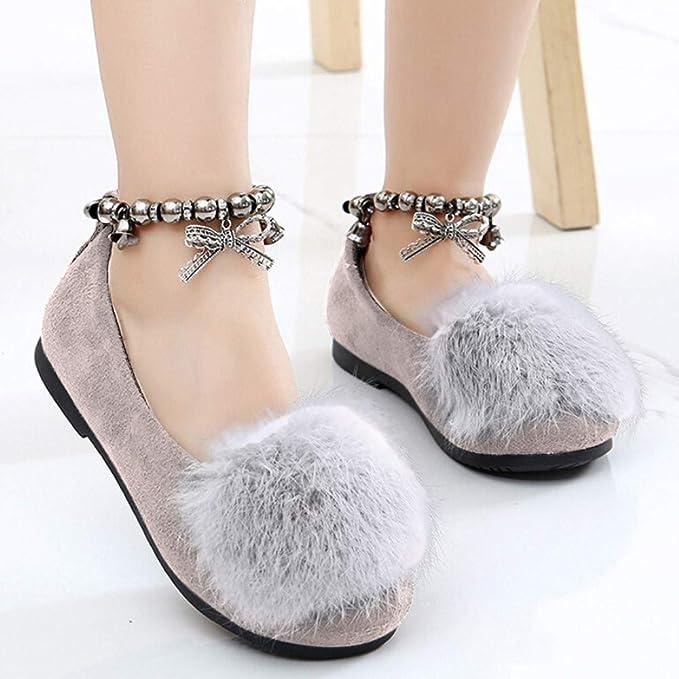 Patucos Bebe Recien Nacido,ZARLLE 1-6 años Bebés niñas Rebaño cálido Mocasines Planos Flock Fluffy Bowknot Estudiante Princesa Individual Zapatos de Vestir: ...