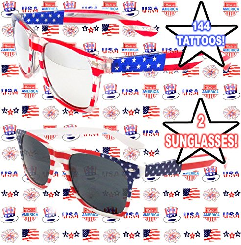 Well Pack Box USA Patriotic Sunglasses 2 PAIR Red White Blue 144 American Tattoos Picnic Beach, Parties, Events, Labor -