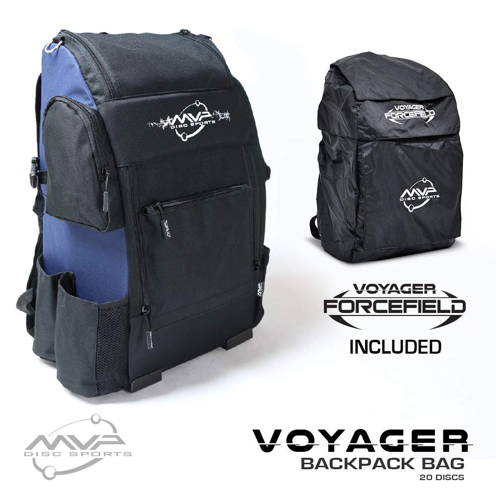 MVP Disc Sports Voyager Backpack Disc Golf Bag with Forcefield Rainfly - Navy