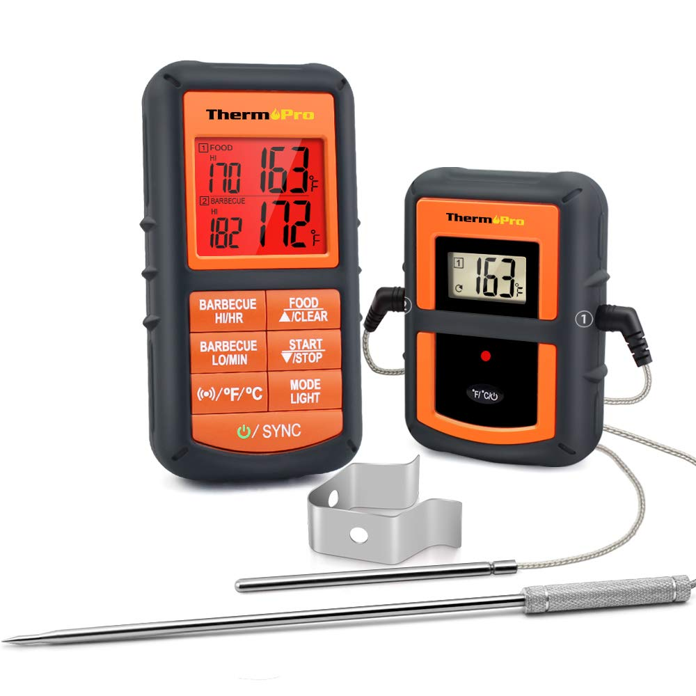 ThermoPro TP-08S Wireless Remote Digital Cooking Meat Thermometer Dual Probe for Grilling Smoker BBQ Food Thermometer - Monitors Food from 300 Feet Away by ThermoPro