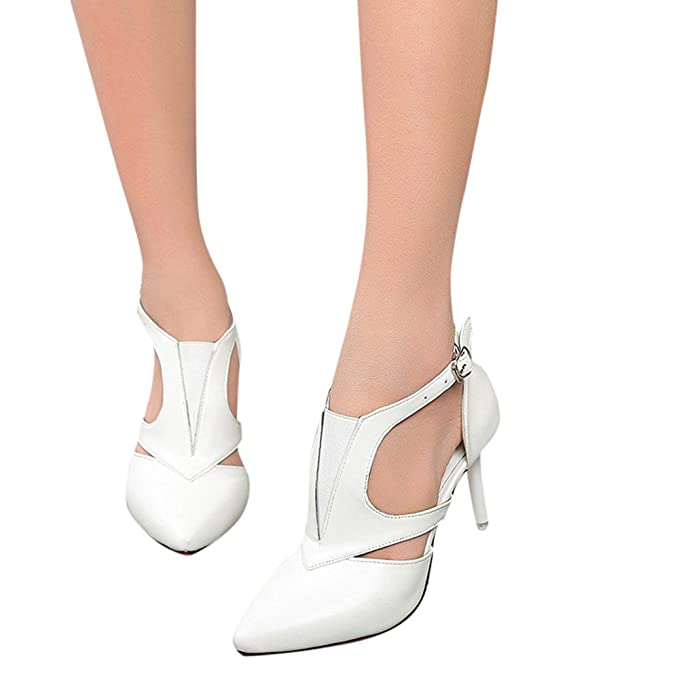 607028a130a49 Amazon.com: Xinantime Women Cross Sandals Pointed Toe High Heels ...