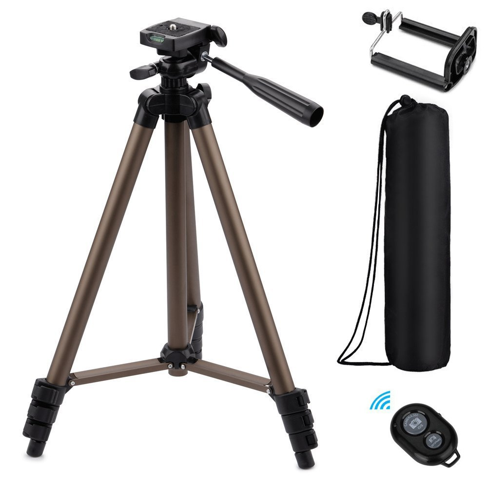 Eocean 50-inch Tripod, Cellphone Tripod, Lightweight Aluminum Tripod, Tripod Video Tripod Cellphone,Camera, Wireless Remote + Cellphone Holder Mount All Smart Cell Phone, Most Camera