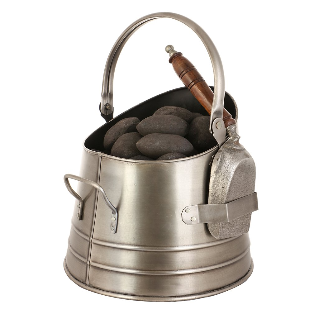 Antique Pewter Kindling Bucket - Fireside Accessory for Holding Wood Coal Logs
