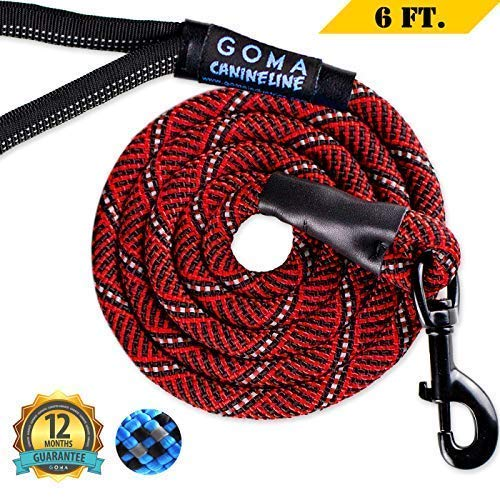 Dog Leash by GOMA - Best Chew resistant Reflective Lead - 100% Heavy Duty Nylon Increased Safety for Night Walking - for Walking Medium and Large Sized Breeds - Ergonomic Grip Made with Mountain Climb