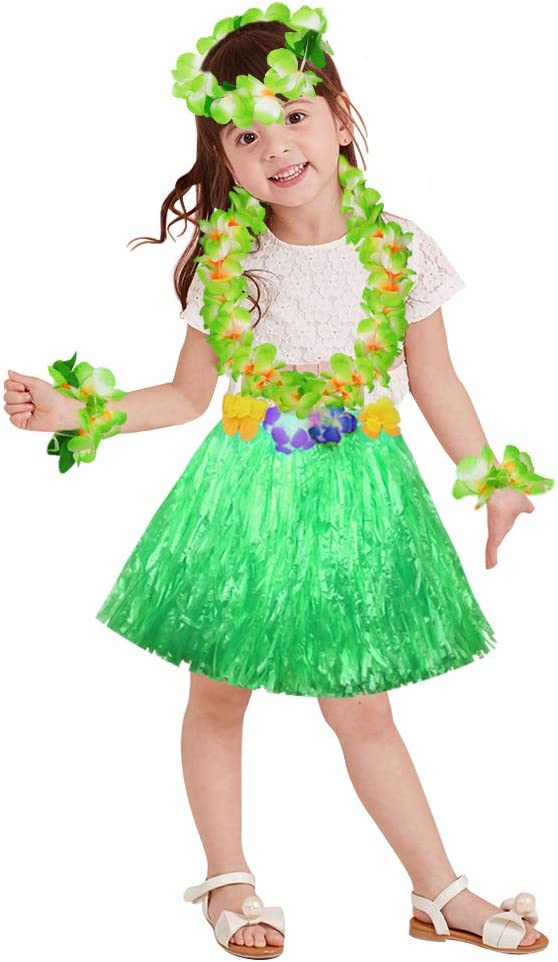 40cm green grass skirt with flowers bracelets headband necklace Hula set