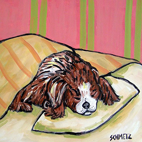 Cavalier King Charles Spaniel Sleeping dog art tile coaster gift