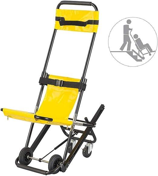 Ccsme Presidente de la escalera, Subir escaleras con silla de ruedas plegable de aluminio de peso ligero Médico elevación de la escalera Silla con hebillas de liberación rápida 350 libras de capacidad: