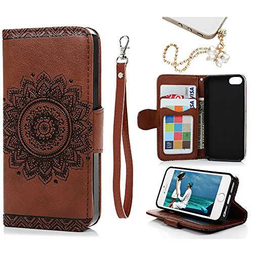 MOLLYCOOCLE iPhone SE, iPhone 5 5S Wallet Case, Embossed Flower Wallet with Stand Premium PU Leather Skin Cover Magnetic Flip Folio TPU Bumper for iPhone SE 5 5S & Bling Butterfly Dust Plug,Brown